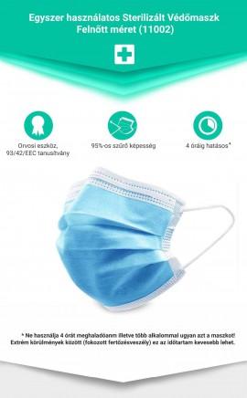 védőmaszk FELNŐTT,egyszer használatos,sterilizált