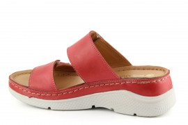 Bőr, női piros papucs, K466-10, 36-41